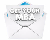 Get Your MBA Master Business Administration Envelope 3d Illustra. Tion Royalty Free Stock Photos