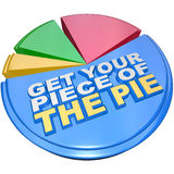 Get Your Piece of The Pie Chart Measuring Wealth. A colorful pie chart measuring share of wealth features the words Get Your Piece of the Pie as encouragement to Royalty Free Stock Photography