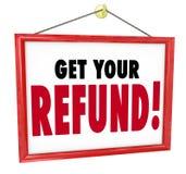 Get Your Refund Sign Money Return Back Accountant Tax Preparer vector illustration