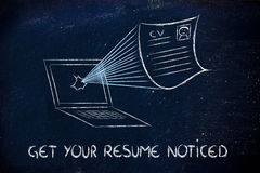 Get your resume noticed. Funny cv document exploding out of a computer screen, get your cv noticed Stock Images