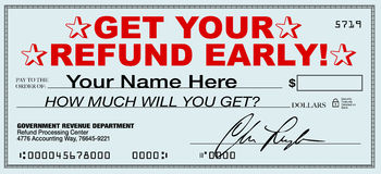 Get Your Tax Refund Early - File Now for Fast Return of Refunds. A tax refund check that you can receive early by using a tax return filing service that promises Stock Images