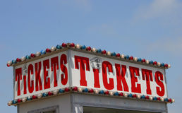 Get Your Tickets Here. This is a ticket booth at the county fair royalty free stock photos