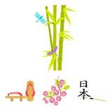 Geta, Kirschblüte blüht, Bambus, Hieroglyphe Vector gesetzte Sammlungsikonen Japans in der Karikaturart Illustration des Symbols  Stockfotos