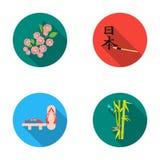 Geta, sakura flowers, bamboo, hieroglyph.Japan set collection icons in flat style vector symbol stock illustration web. Stock Photo