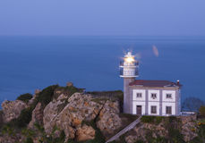 Getaria lighthouse on Mount San Anton Royalty Free Stock Image