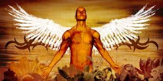 Getatoeërde engel Royalty-vrije Stock Afbeeldingen