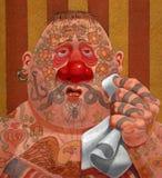 Getatoeeerde mens met koude royalty-vrije illustratie
