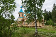 Gethsemane skit on restoration, surrounded by birch and pine trees. Valaam is a cozy and quiet piece of land, the rocky shores of which rise above the lush Stock Image