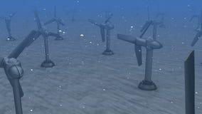 Getijdenenergie: generators in de oceaan stock footage