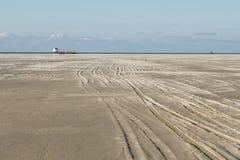 Getijdengebied Vliehors, приливные равнины Vliehors стоковая фотография