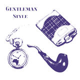 Getleman vintage stuff set in grunge style.  Flask, watch, tobacco pipe, pocket watch. Royalty Free Stock Images
