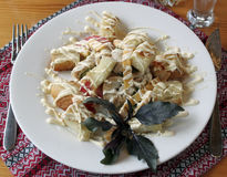 Getman salad. With cheese, tomatoes, chicken fillet, croutons and mayonnaise Stock Photography