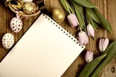 Getonte Hintergrundostern-Tulpen und -eier lizenzfreie stockfotos