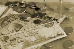 getontes Bild der Vielzahl der Münzen und Papiergeld von verschiedenen Ländern auf numismatischem Album Stockbilder
