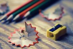 Getontes Bleistiftspitzer-Abfallholz Stockbild