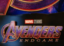 Getoonde de affiche van wrekersendgame; The Avengers, is een Amerikaanse superherofilm die op het team van Marvel Comicssuperhero royalty-vrije stock fotografie