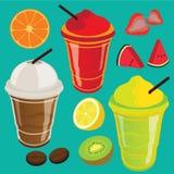 Getränk-Getränkefrucht-Erschütterung und Smoothie Lizenzfreie Stockbilder