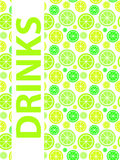 Getränk-Menü-Hintergrund-Vektor-Illustration Lizenzfreies Stockfoto