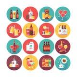 Getränk- und Getränkeikonensammlung Flat vector circle icons set with long shadow Nahrung und Getränke Stockfotografie