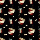 Getränk und Popcorn Nahtloses Muster Stockbilder