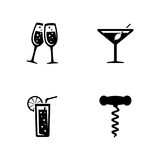 Getränkalkohol Einfache in Verbindung stehende Vektor-Ikonen stock abbildung