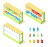 Getränke im Lebensmittelgeschäft-Schaukasten-isometrischen Vektor Stockfoto