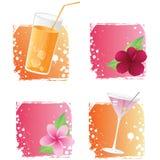 Getränke und Blumen auf grunge Hintergründen Lizenzfreies Stockbild