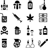 Getränke und Drogeikonen Lizenzfreie Stockbilder