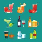 Getränke und Getränkeflacher Designikonensatz Stockfotos