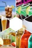 Getränkekartesammlungs-Collagengetränke trinkt Kolabaumrestaurant b lizenzfreie stockfotos