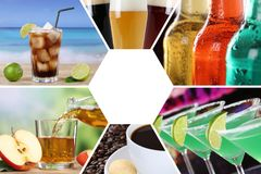 Getränkekartesammlungscollagengetränkegetränk-Restaurantbar lizenzfreie stockfotografie