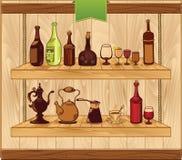 Getränkevektorschablone, alte Flaschenillustrationen Lizenzfreie Stockfotografie