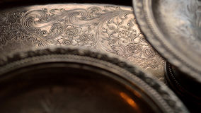 Getrübte silberne Teller lizenzfreies stockfoto