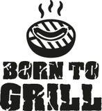 Getragen, - Grill mit Wurst zu grillen stock abbildung
