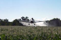 Getreide-Abstauben-Flugzeuge auf Mais-Feld Lizenzfreie Stockfotos