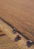 Getreidefeld mit schweren landwirtschaftlichen Maschinen Stockbild