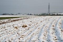 Getreidefeld unter Schnee Stockfoto