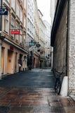Getreidegasse Paesaggio urbano scenico del centro urbano storico di sal Fotografia Stock Libera da Diritti