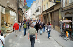 Getreidegasse in Salzburg Stock Images