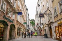 Getreidegasse street in Salzburg, Austria Royalty Free Stock Images