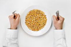 Getreidemehl. Platte des trockenen Mais mit Gabel und des Messers lokalisiert Stockbilder