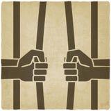 Getrennt auf Schwarzem die Hände, die Gefängnis brechen, hält alten Hintergrund ab lizenzfreie abbildung