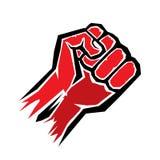 Getrennt auf Schwarzem rote Faustikone des Vektors Lizenzfreies Stockbild