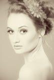 Getrennt auf Weiß Perfekte frische Hautnahaufnahme Jugend-und Hautpflege-Konzept Nacktes Make-up Stockbild