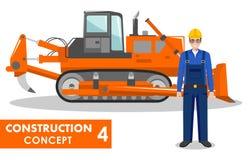 Getrennt auf Weiß Ausführliche Illustration des Arbeiters und des Bulldozers in der flachen Art auf weißem Hintergrund Maschine d Stockbilder