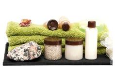 Getrennte Badbadekurortelemente auf Weiß Stockbilder
