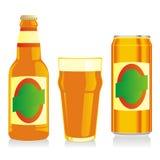 Getrennte braune Bierflasche, Glas und kann Stockbild