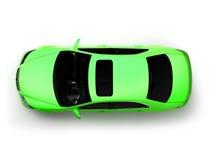 Getrennte Draufsicht des grünen modernen Autos Stockfoto