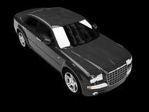 Getrennte Draufsicht des schwarzen Autos Stockfotos