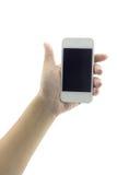 Getrennte Frauenhand, die das Telefon 3 anhält Stockbilder